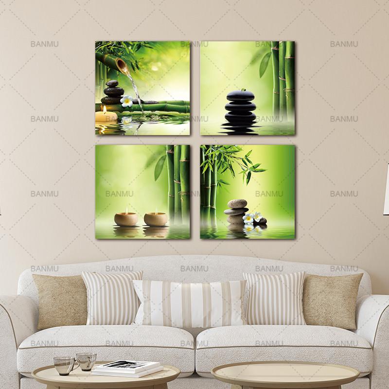 moderne 4 panneau zen gicl e impressions sur toile parfait bambou vert photos sur toile peinture. Black Bedroom Furniture Sets. Home Design Ideas